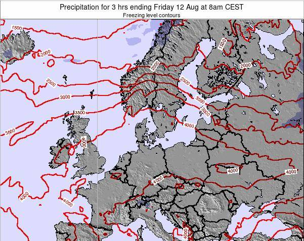 Germany Precipitation for 3 hrs ending Thursday 13 Mar at 1am CET map
