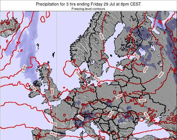 Denmark Precipitation for 3 hrs ending Sunday 26 May at 2pm CEST