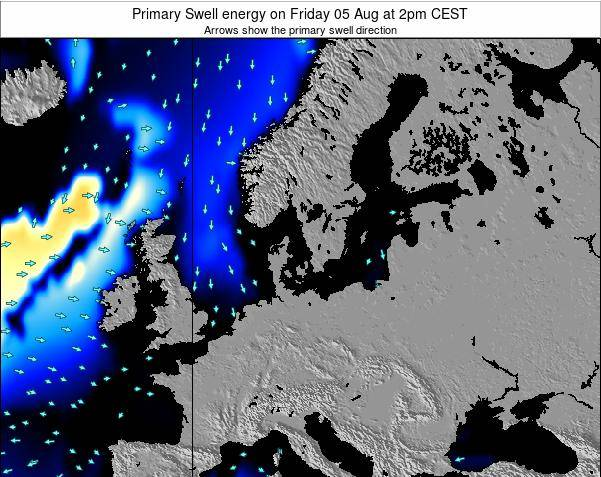 Denmark Primary Swell energy on Monday 29 Aug at 2pm CEST