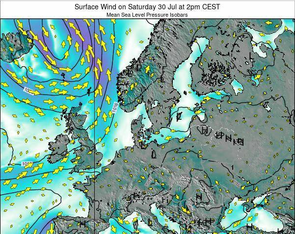 Denmark Surface Wind on Thursday 23 May at 8am CEST map