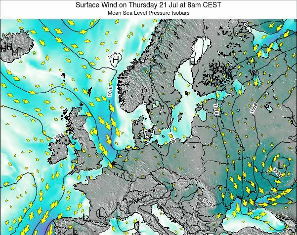 Denmark Surface Wind on Sunday 26 May at 8am CEST map