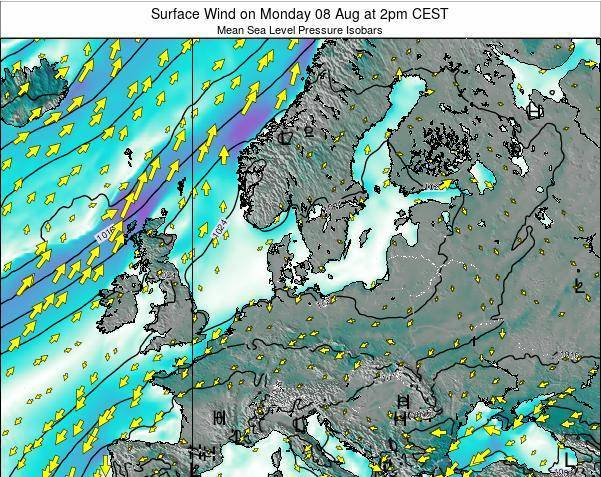 Denmark Surface Wind on Monday 24 Jun at 2pm CEST map