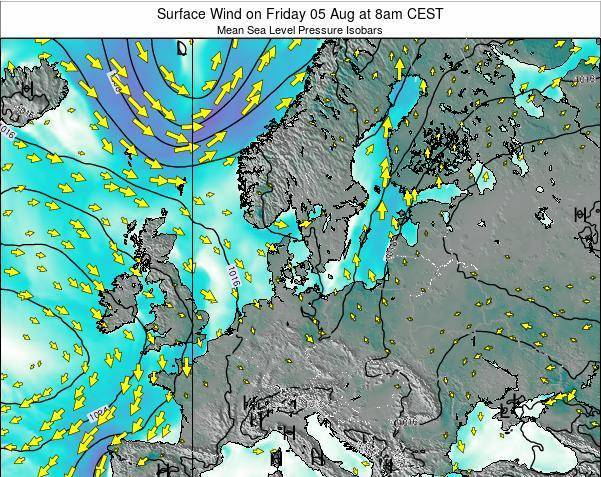 Denmark Surface Wind on Thursday 20 Jun at 8am CEST map