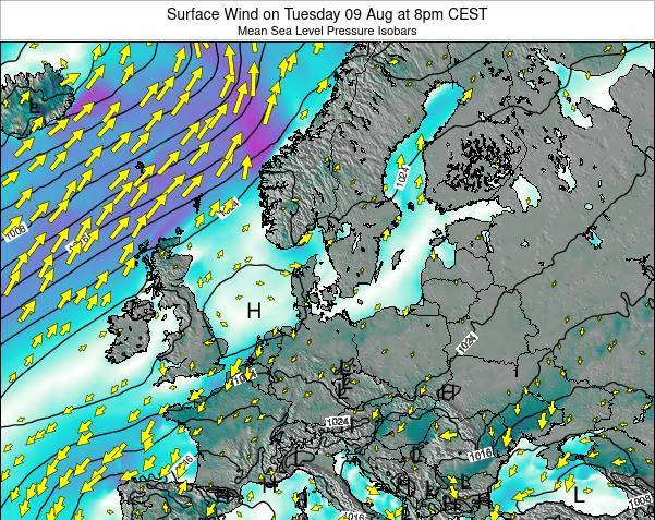 Denmark Surface Wind on Thursday 23 May at 2pm CEST map