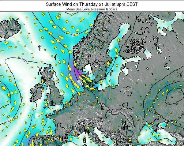 Denmark Surface Wind on Thursday 23 May at 8pm CEST map