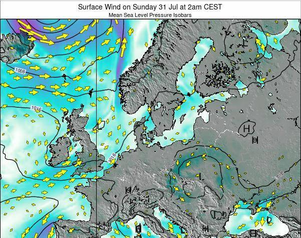 Germany Surface Wind on Monday 17 Dec at 1am CET map