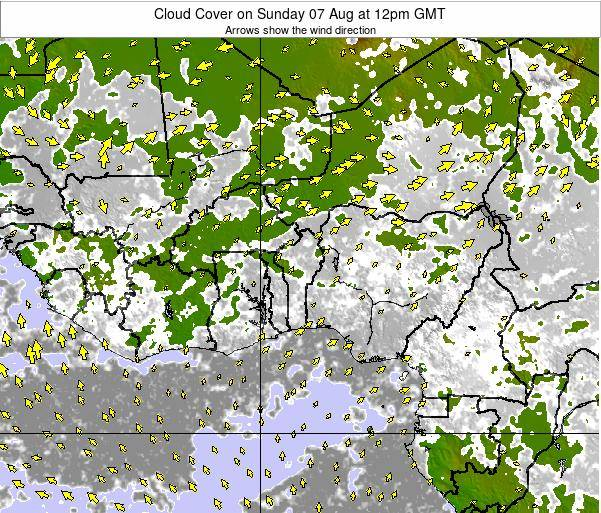 CotedIvoire Cloud Cover on Thursday 30 May at 12am GMT map
