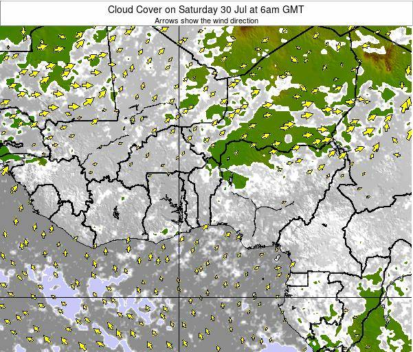 CotedIvoire Cloud Cover on Monday 24 Jun at 6am GMT map