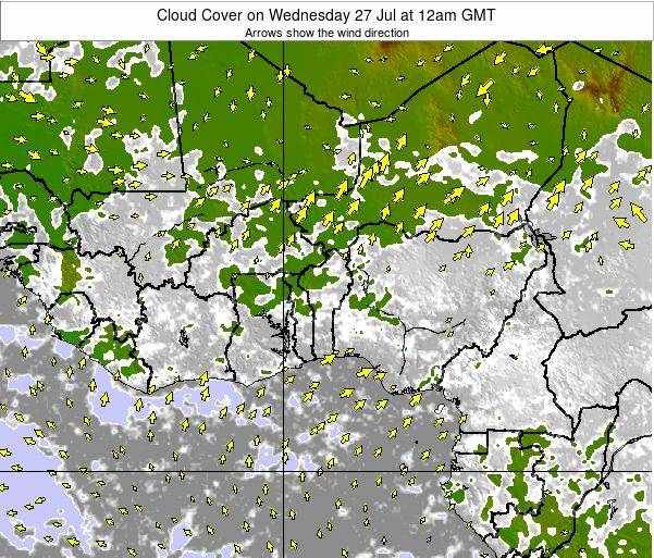 CotedIvoire Cloud Cover on Tuesday 21 May at 6am GMT map