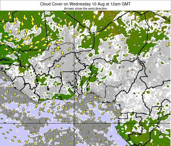 CotedIvoire Cloud Cover on Sunday 26 May at 12pm GMT map