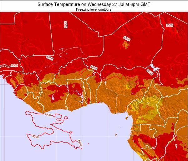 BurkinaFaso Surface Temperature on Wednesday 29 May at 6am GMT map