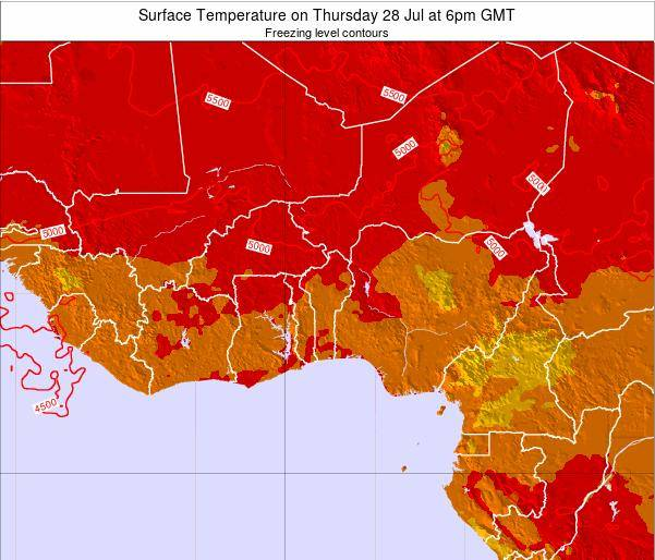 BurkinaFaso Surface Temperature on Wednesday 29 May at 12am GMT map