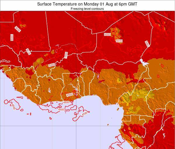 Togo Surface Temperature on Friday 24 May at 6pm GMT map