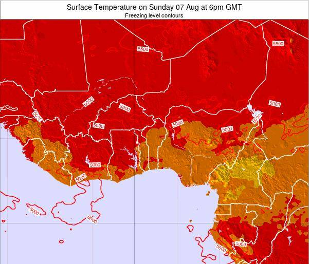 Togo Surface Temperature on Tuesday 21 May at 12pm GMT map
