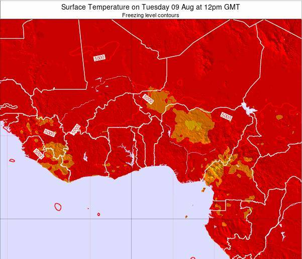 Togo Surface Temperature on Tuesday 28 May at 12pm GMT map