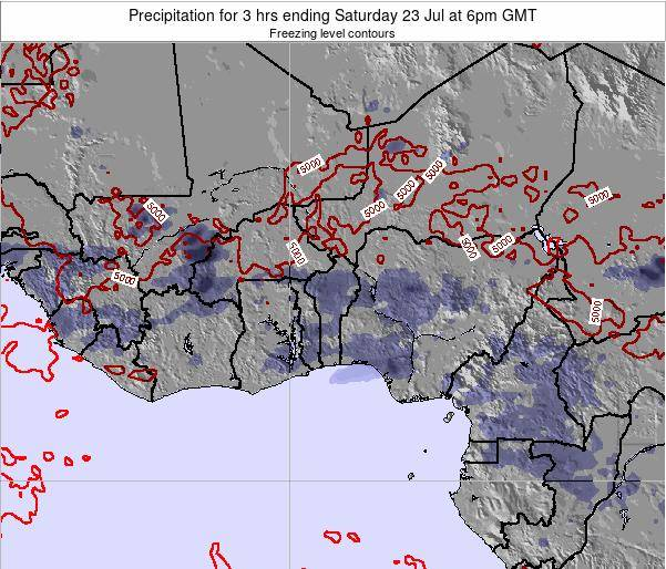 Benin Precipitation for 3 hrs ending Sunday 19 May at 6pm GMT map