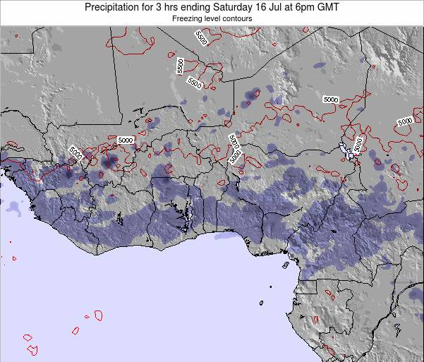 Togo Precipitation for 3 hrs ending Saturday 07 Dec at 6am GMT map