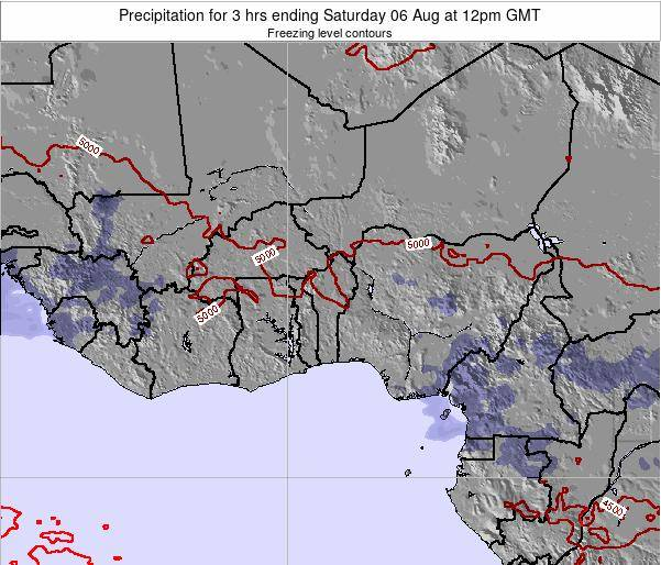 Togo Precipitation for 3 hrs ending Thursday 24 Jul at 12pm GMT map