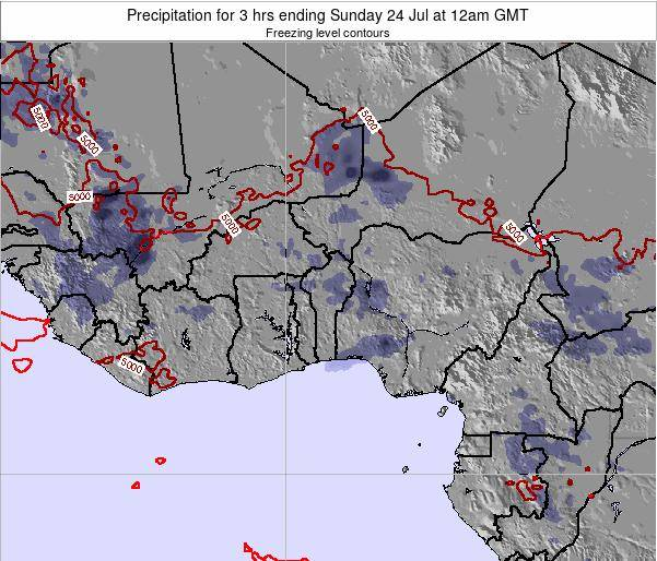 Togo Precipitation for 3 hrs ending Saturday 08 Mar at 12pm GMT map