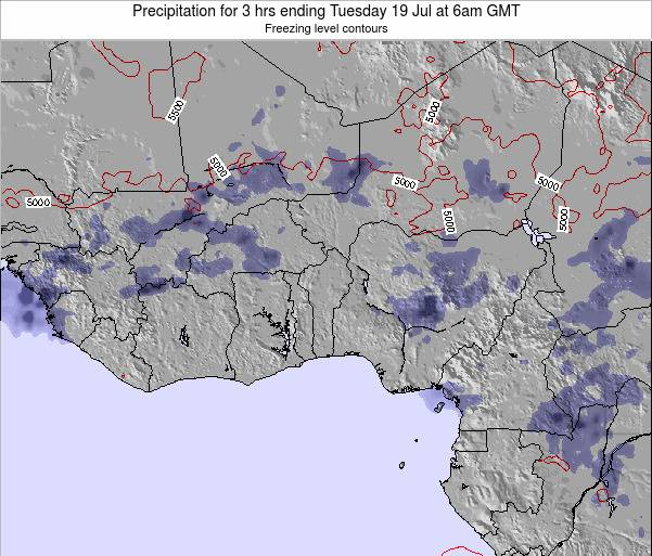 Togo Precipitation for 3 hrs ending Tuesday 28 May at 12pm GMT map