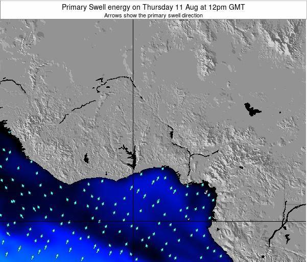 Liberia Primary Swell energy on Saturday 25 Feb at 12am GMT
