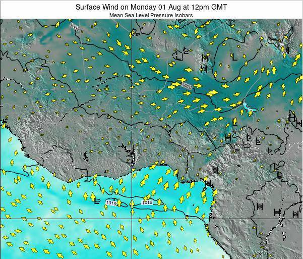 Ghana Surface Wind on Sunday 24 Aug at 12pm GMT