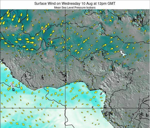 Ghana Surface Wind on Sunday 20 Aug at 12pm GMT