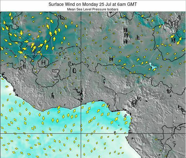 Ghana Surface Wind on Thursday 24 Apr at 12pm GMT