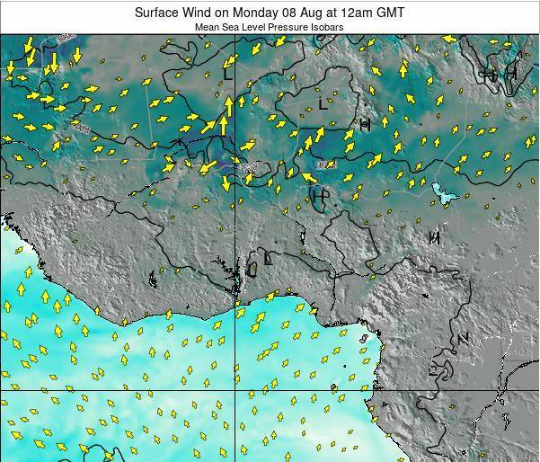Ghana Surface Wind on Friday 25 Apr at 12am GMT