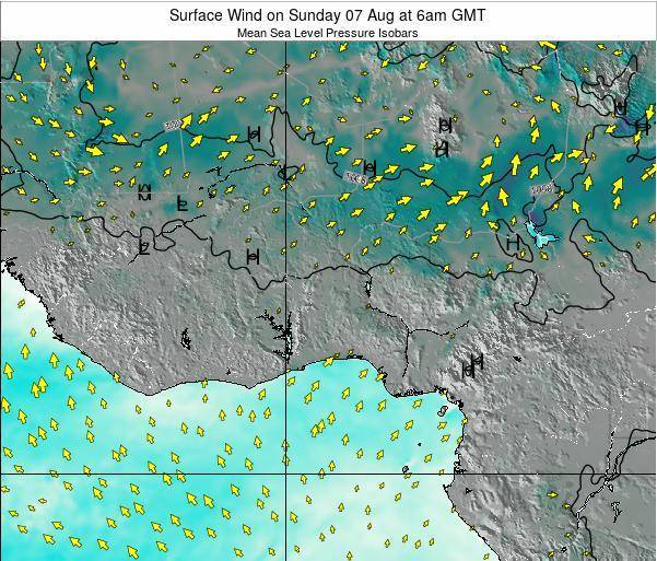 Ghana Surface Wind on Sunday 27 Jul at 12am GMT