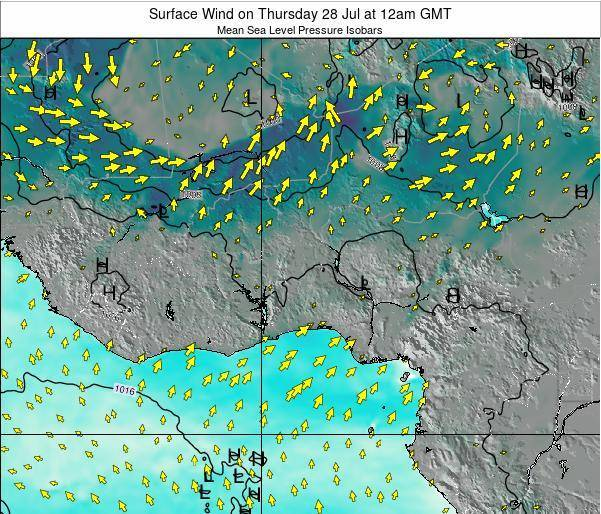 Ghana Surface Wind on Friday 24 May at 6am GMT
