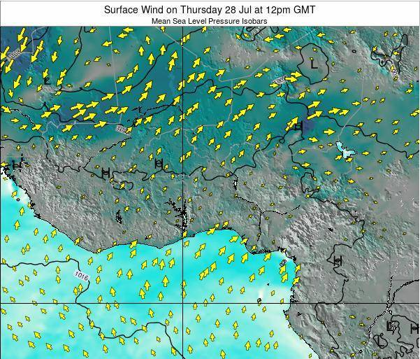 Ghana Surface Wind on Tuesday 31 May at 12pm GMT