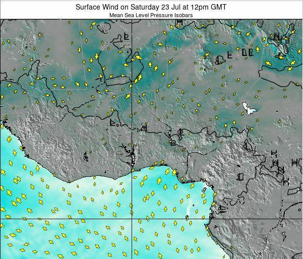 Ghana Surface Wind on Wednesday 26 Nov at 6am GMT