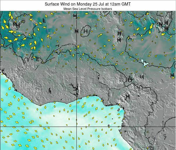 Ghana Surface Wind on Wednesday 16 Apr at 6pm GMT