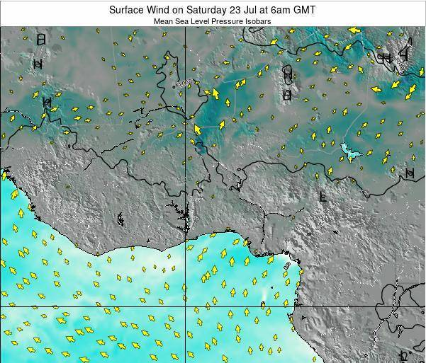 Ghana Surface Wind on Tuesday 30 Aug at 12am GMT