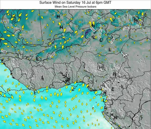 Ghana Surface Wind on Wednesday 19 Jun at 12pm GMT