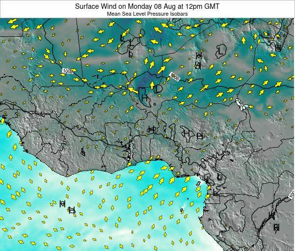 Ghana Surface Wind on Sunday 09 Mar at 12pm GMT