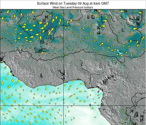 Ghana Surface Wind on Monday 16 Dec at 6pm GMT