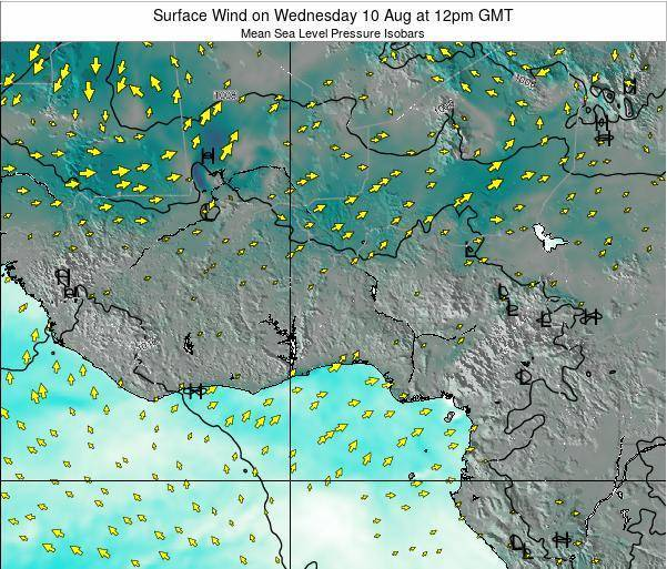 Ghana Surface Wind on Sunday 05 Apr at 6am GMT