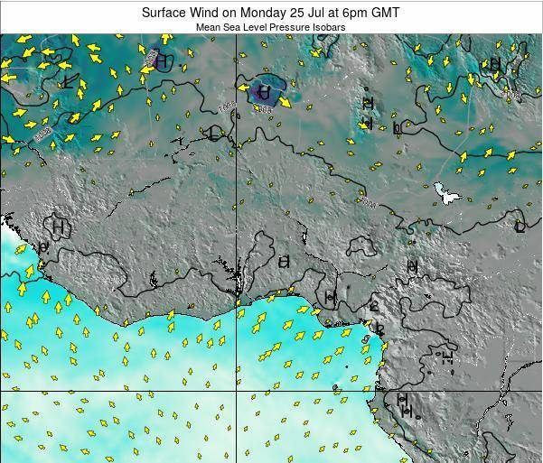 Ghana Surface Wind on Friday 14 Mar at 6am GMT
