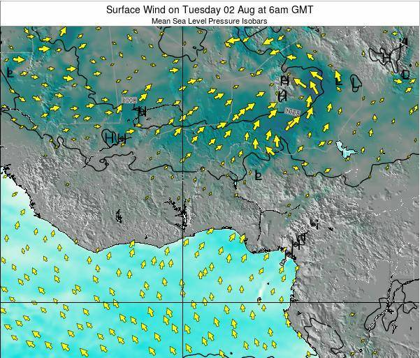 Ghana Surface Wind on Monday 27 May at 12am GMT