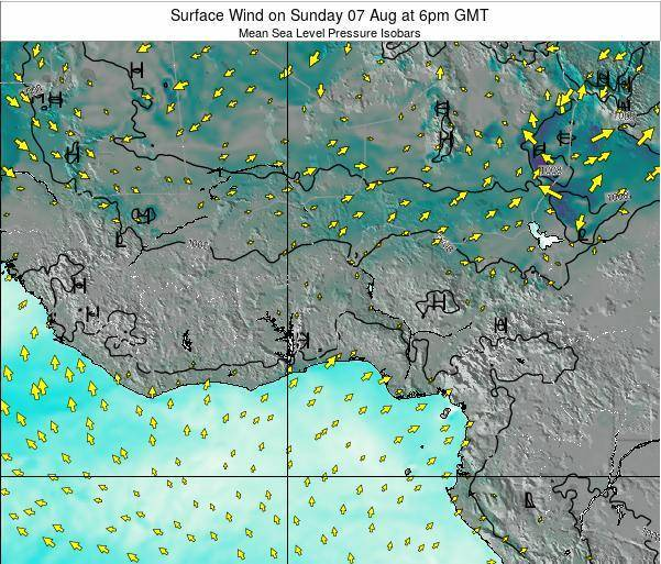 Ghana Surface Wind on Saturday 15 Mar at 12am GMT