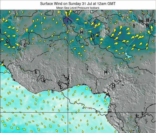 Ghana Surface Wind on Sunday 03 Aug at 6pm GMT