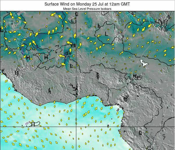Ghana Surface Wind on Saturday 20 Sep at 12pm GMT