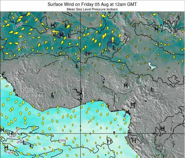 Benin Surface Wind on Tuesday 25 Jun at 12pm GMT map