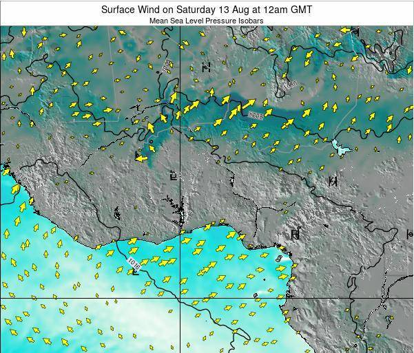 Benin Surface Wind on Monday 27 May at 12am GMT map