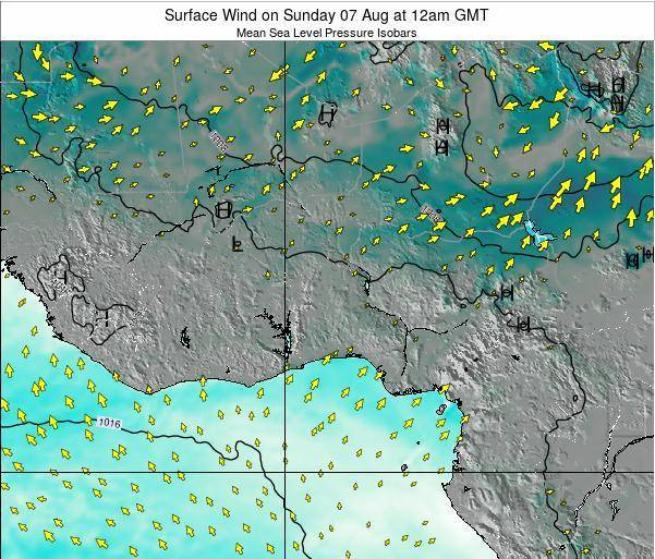 Ghana Surface Wind on Friday 27 Jan at 6am GMT