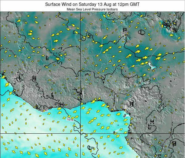 Ghana Surface Wind on Thursday 02 Mar at 12pm GMT
