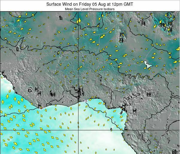 Ghana Surface Wind on Monday 08 Sep at 6pm GMT