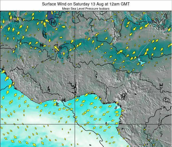 Ghana Surface Wind on Sunday 26 Oct at 12pm GMT